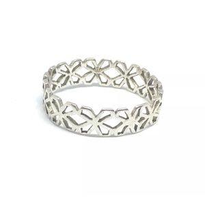 Dainty Filigree Sterling Silver Ring Band 8 Flower